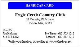 Golf Handicap Certificate
